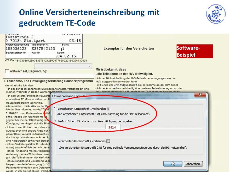 Online Versicherteneinschreibung mit gedrucktem TE-Code Software- Beispiel 21 3824