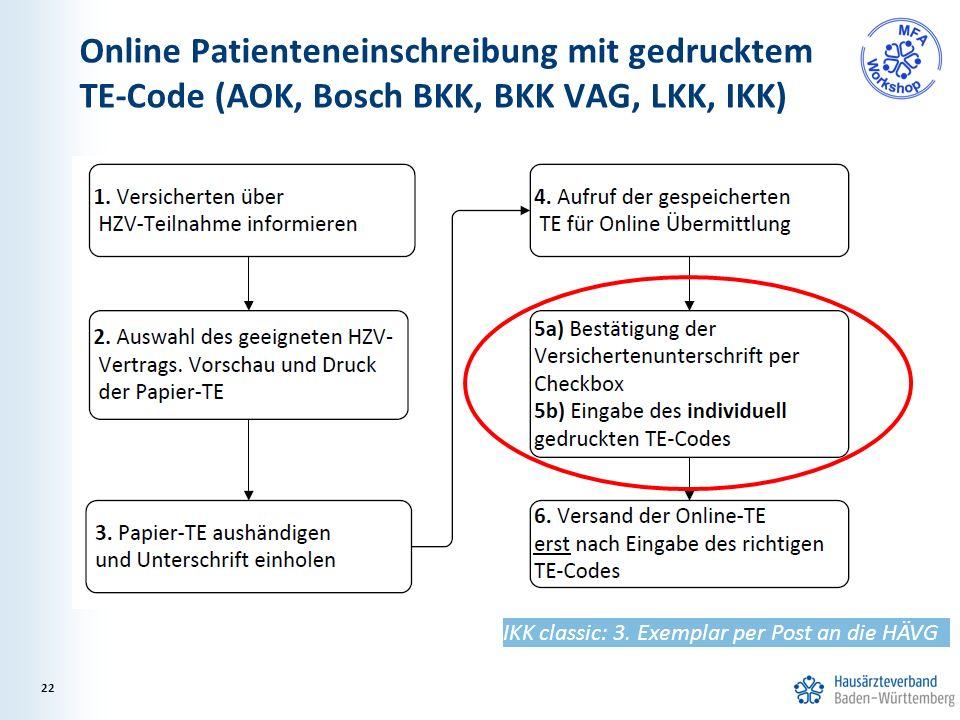 Online Patienteneinschreibung mit gedrucktem TE-Code (AOK, Bosch BKK, BKK VAG, LKK, IKK) 22 IKK classic: 3. Exemplar per Post an die HÄVG