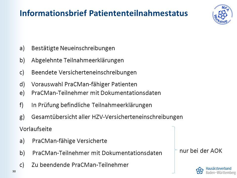 a)Bestätigte Neueinschreibungen b)Abgelehnte Teilnahmeerklärungen c)Beendete Versicherteneinschreibungen d)Vorauswahl PraCMan-fähiger Patienten e)PraC
