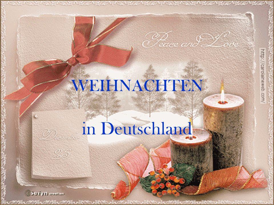 WORTSCHATZ das Weihnachten - Рождество die Geburt (en) – рождение heutzutage – в наше время stattfinden – проводиться der Markt, Märkte – ярмарка, базар der Advent (e) – адвент, предрождественское время der Weihnachtsbaum – рождественская елка der Kranz, Kränze – венок der Zweig – ветвь anzünden – зажигать der Heiligabend (e) – святой вечер brennen – гореть das Gebäck (e) – печенье der Stollen – рождественский пирог