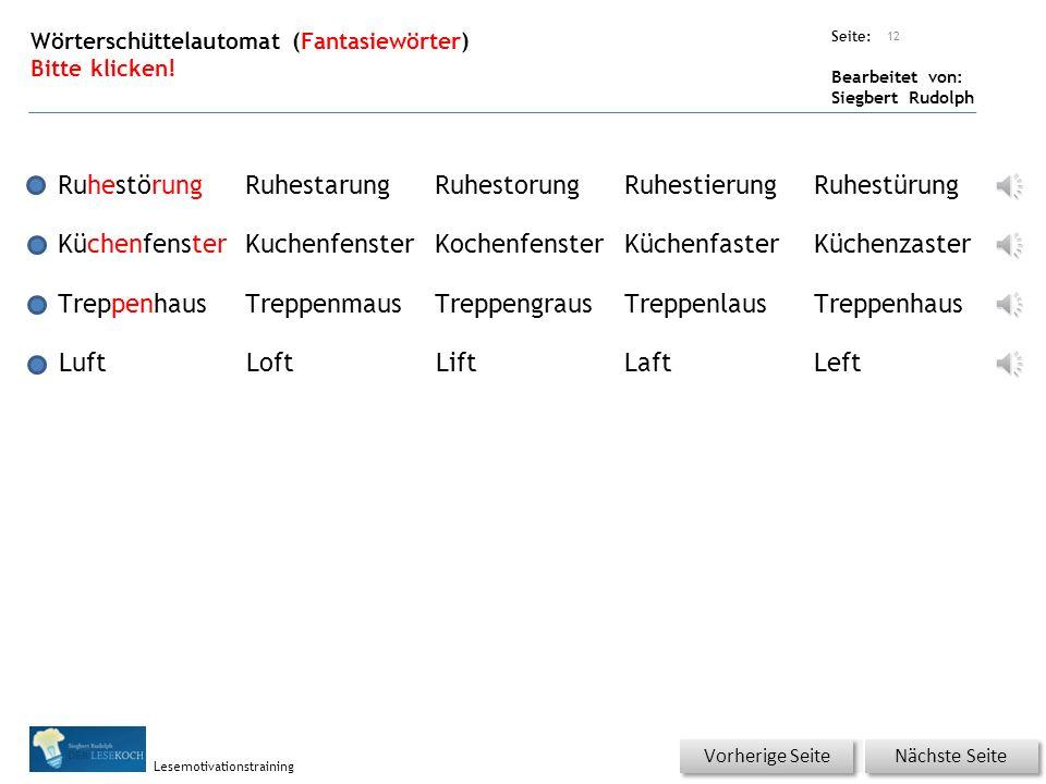Übungsart: Seite: Bearbeitet von: Siegbert Rudolph Lesemotivationstraining aufgeregtneugierigdraußenKüchenfensterüberlegenhinausStraßelauschenRuhestörungPolizeiSchlafanzugTreppenhauslauschtseltsamQuakenüberlegtSchnabelgriesgrämigducken barfuß 11 Wörter schnell lesen mit Selbstkontrolle.