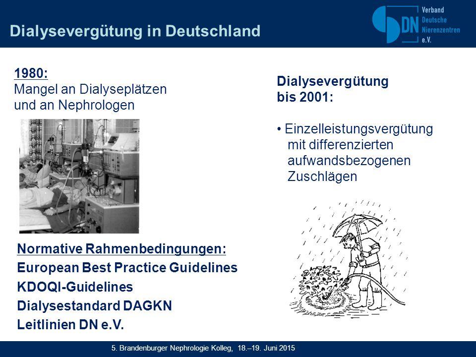 Normative Rahmenbedingungen: European Best Practice Guidelines KDOQI-Guidelines Dialysestandard DAGKN Leitlinien DN e.V.