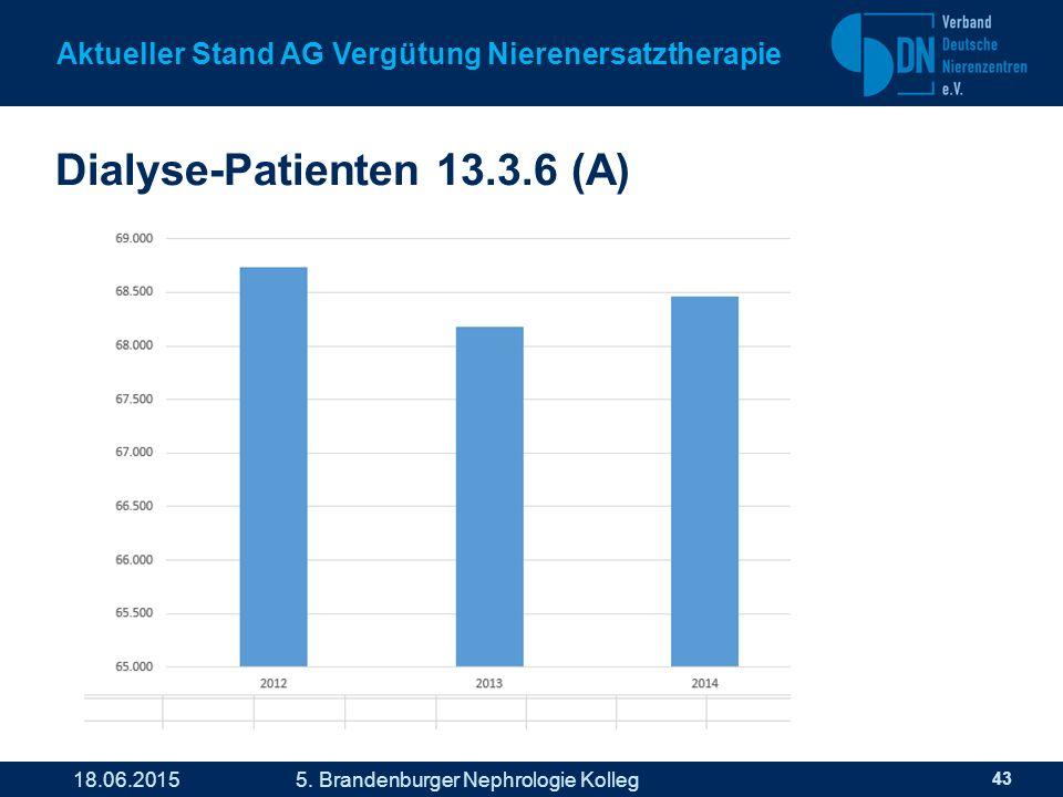 Dialyse-Patienten 13.3.6 (A) 43 Aktueller Stand AG Vergütung Nierenersatztherapie 18.06.2015 5.