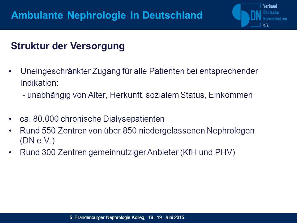 Ambulante Nephrologie in Deutschland Uneingeschränkter Zugang für alle Patienten bei entsprechender Indikation: - unabhängig von Alter, Herkunft, sozialem Status, Einkommen ca.