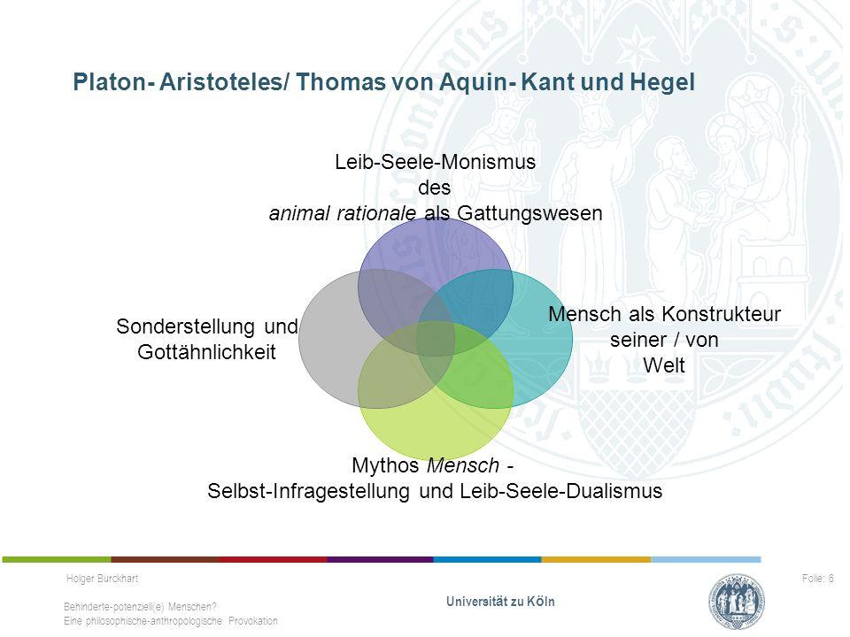 Holger Burckhart Behinderte-potenziell(e) Menschen? Eine philosophische-anthropologische Provokation Universit ä t zu K ö ln Folie: 6 Platon- Aristote