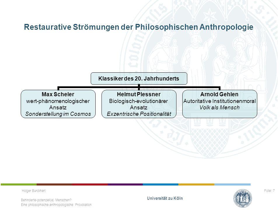 Holger Burckhart Behinderte-potenziell(e) Menschen? Eine philosophische-anthropologische Provokation Universit ä t zu K ö ln Folie: 7 Restaurative Str