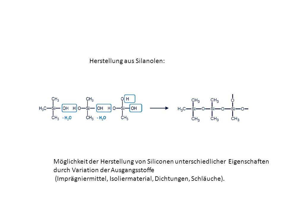 Herstellung aus Silanolen: Möglichkeit der Herstellung von Siliconen unterschiedlicher Eigenschaften durch Variation der Ausgangsstoffe (Imprägniermittel, Isoliermaterial, Dichtungen, Schläuche).