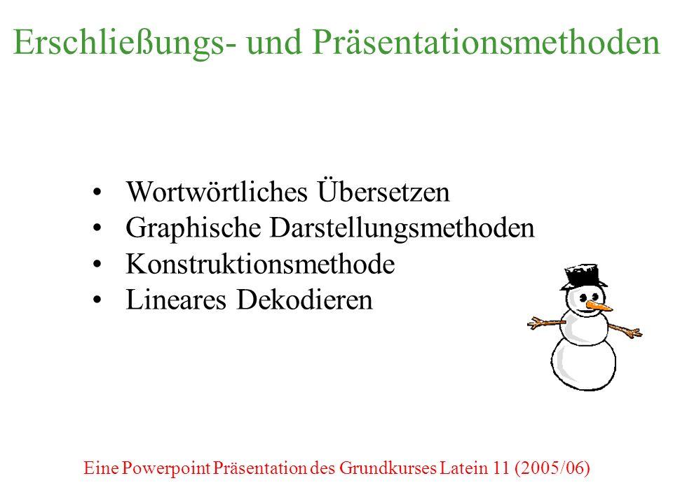 Erschließungs- und Präsentationsmethoden Wortwörtliches Übersetzen Graphische Darstellungsmethoden Konstruktionsmethode Lineares Dekodieren Eine Powerpoint Präsentation des Grundkurses Latein 11 (2005/06)
