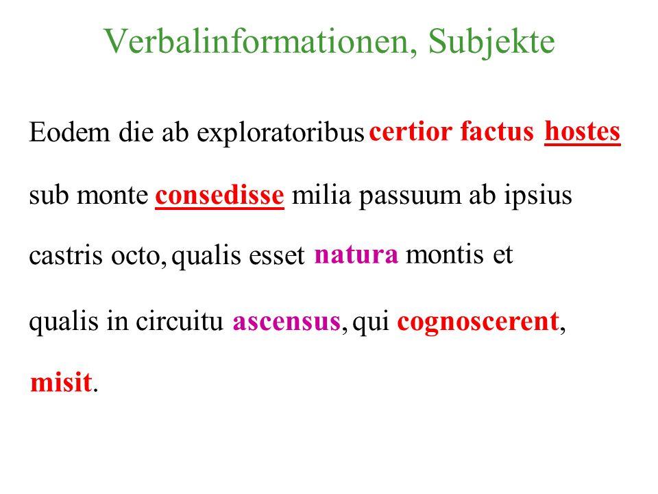 Eodem die ab exploratoribus certior factushostes sub monteconsedissemilia passuum ab ipsius qualis esset natura montis et qui cognoscerent, misit. cas