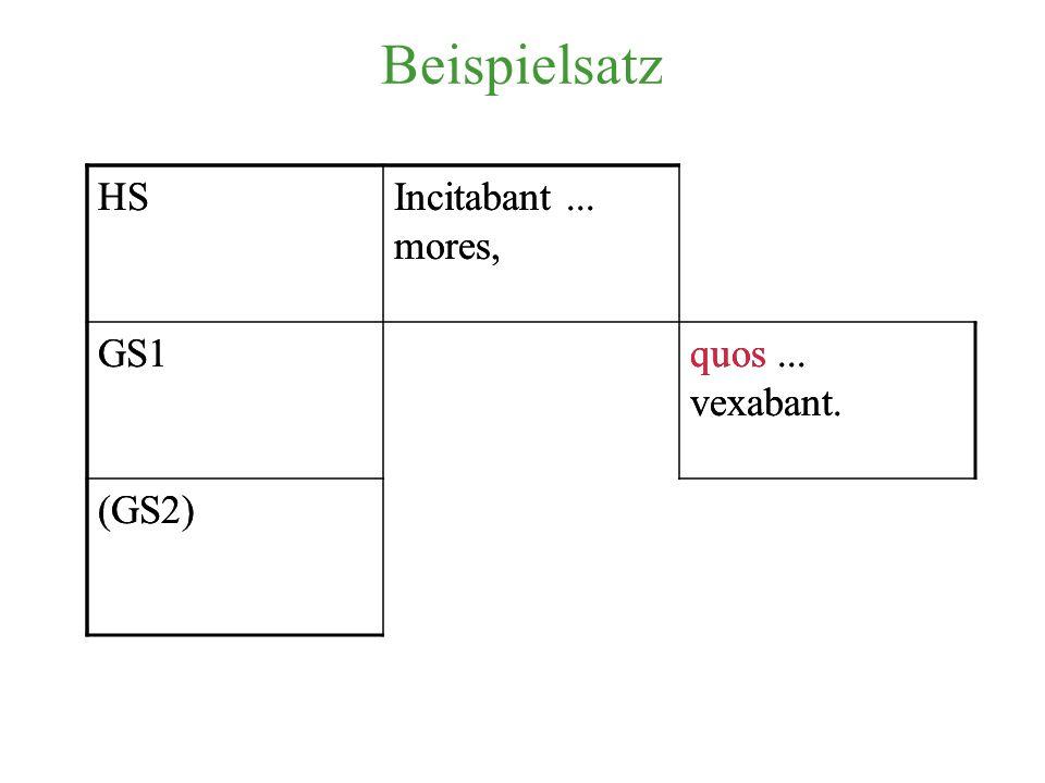 Beispielsatz HSIncitabant...mores, GS1quos... vexabant.