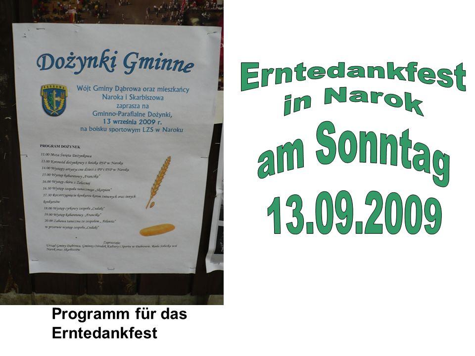 Programm für das Erntedankfest