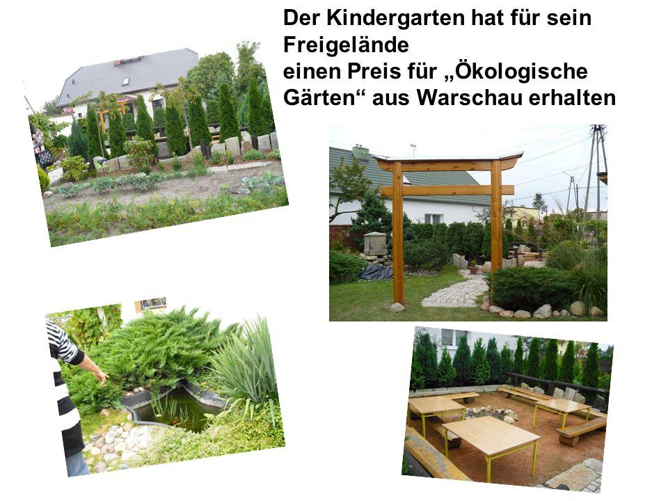 """Der Kindergarten hat für sein Freigelände einen Preis für """"Ökologische Gärten"""" aus Warschau erhalten"""