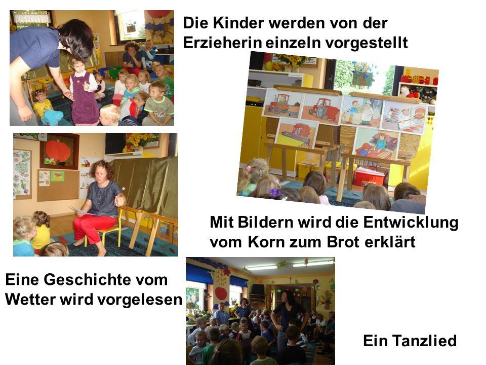 Die Kinder werden von der Erzieherin einzeln vorgestellt Eine Geschichte vom Wetter wird vorgelesen Mit Bildern wird die Entwicklung vom Korn zum Brot erklärt Ein Tanzlied