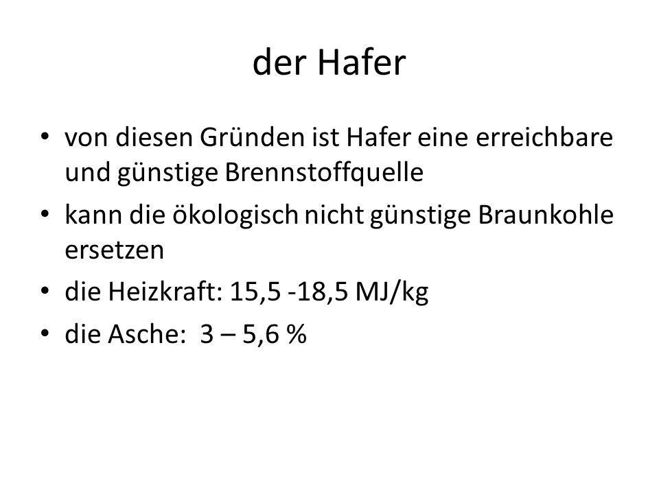 der Hafer von diesen Gründen ist Hafer eine erreichbare und günstige Brennstoffquelle kann die ökologisch nicht günstige Braunkohle ersetzen die Heizkraft: 15,5 -18,5 MJ/kg die Asche: 3 – 5,6 %