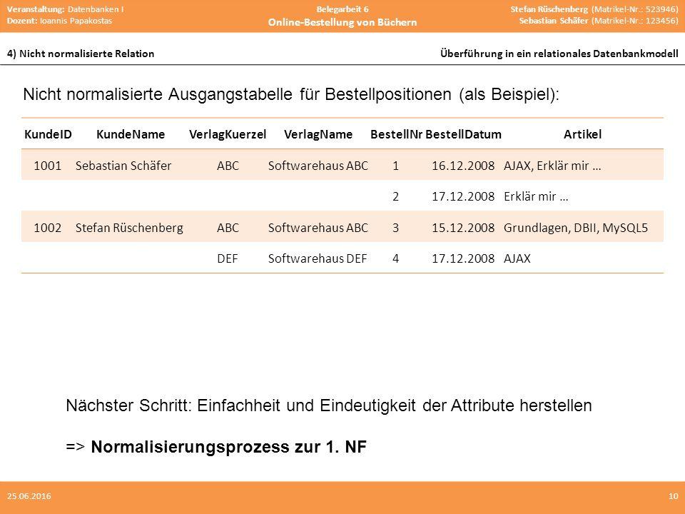Veranstaltung: Datenbanken I Dozent: Ioannis Papakostas Belegarbeit 6 Online-Bestellung von Büchern Stefan Rüschenberg (Matrikel-Nr.: 523946) Sebastian Schäfer (Matrikel-Nr.: 123456) 4) Nicht normalisierte RelationÜberführung in ein relationales Datenbankmodell 1025.06.2016 Nicht normalisierte Ausgangstabelle für Bestellpositionen (als Beispiel): KundeIDKundeNameVerlagKuerzelVerlagNameBestellNrBestellDatumArtikel 1001Sebastian SchäferABCSoftwarehaus ABC116.12.2008AJAX, Erklär mir … 217.12.2008Erklär mir … 1002Stefan RüschenbergABCSoftwarehaus ABC315.12.2008Grundlagen, DBII, MySQL5 DEFSoftwarehaus DEF417.12.2008AJAX Nächster Schritt: Einfachheit und Eindeutigkeit der Attribute herstellen => Normalisierungsprozess zur 1.