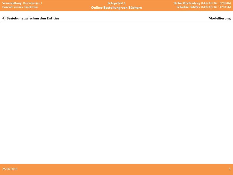 Veranstaltung: Datenbanken I Dozent: Ioannis Papakostas Belegarbeit 6 Online-Bestellung von Büchern Stefan Rüschenberg (Matrikel-Nr.: 523946) Sebastian Schäfer (Matrikel-Nr.: 123456) 4) Beziehung zwischen den EntitiesModellierung 425.06.2016