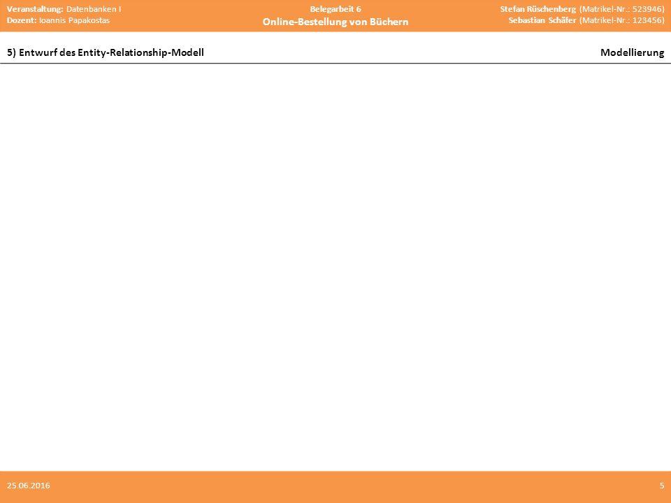 Veranstaltung: Datenbanken I Dozent: Ioannis Papakostas Belegarbeit 6 Online-Bestellung von Büchern Stefan Rüschenberg (Matrikel-Nr.: 523946) Sebastian Schäfer (Matrikel-Nr.: 123456) 5) Entwurf des Entity-Relationship-ModellModellierung 525.06.2016 Kategorien