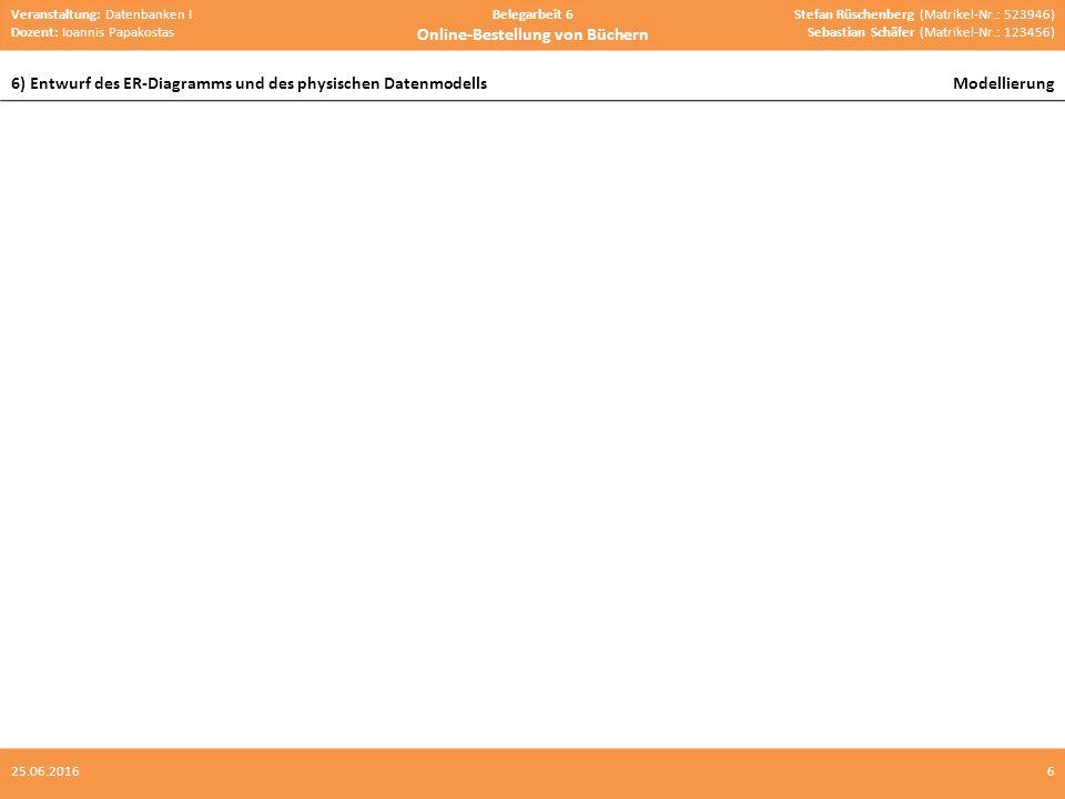 Veranstaltung: Datenbanken I Dozent: Ioannis Papakostas Belegarbeit 6 Online-Bestellung von Büchern Stefan Rüschenberg (Matrikel-Nr.: 523946) Sebastian Schäfer (Matrikel-Nr.: 123456) 6) Entwurf des ER-Diagramms und des physischen DatenmodellsModellierung 625.06.2016