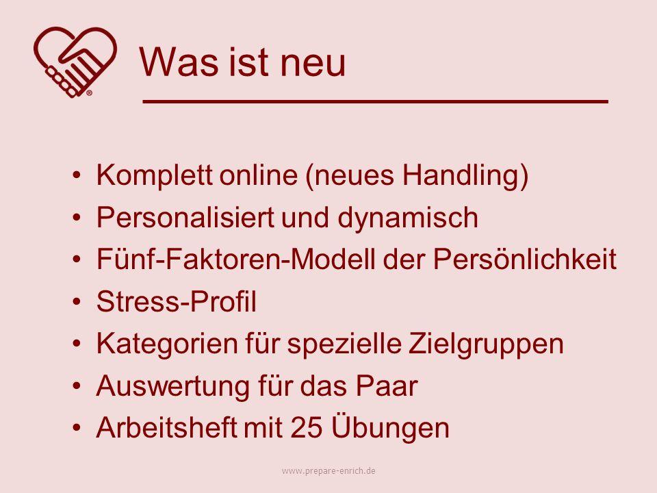 Komplett online (neues Handling) Personalisiert und dynamisch Fünf-Faktoren-Modell der Persönlichkeit Stress-Profil Kategorien für spezielle Zielgrupp