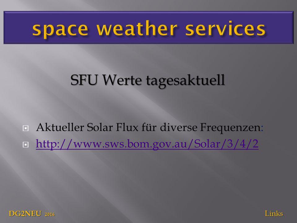  Aktueller Solar Flux für diverse Frequenzen:  http://www.sws.bom.gov.au/Solar/3/4/2 http://www.sws.bom.gov.au/Solar/3/4/2 DG2NEU 2016 Links SFU Werte tagesaktuell