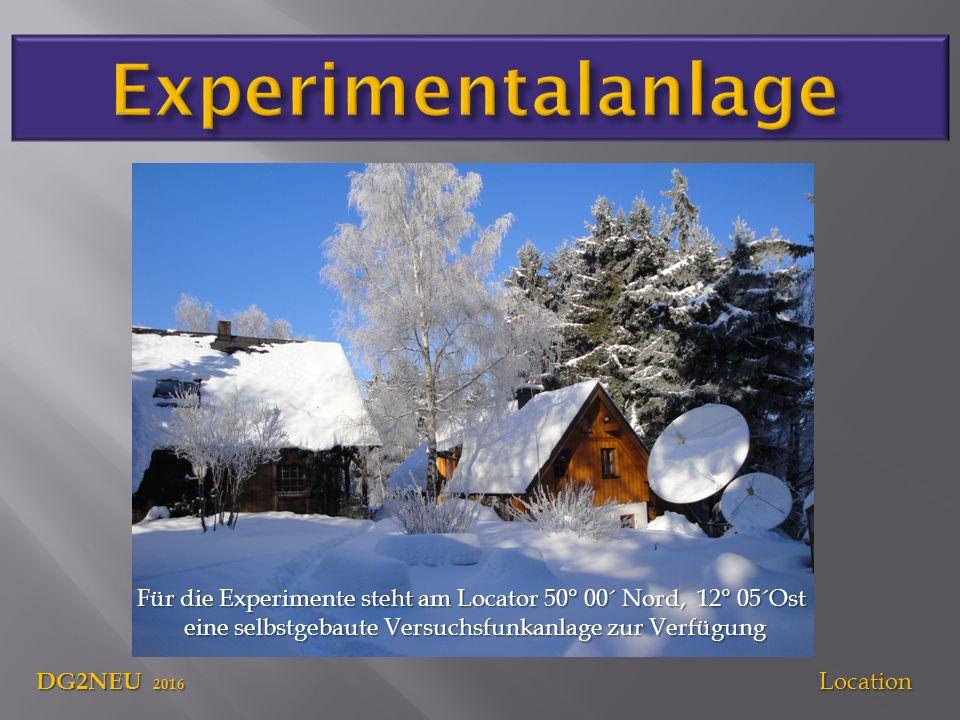 DG2NEU 2016 Location Für die Experimente steht am Locator 50° 00´ Nord, 12° 05´Ost eine selbstgebaute Versuchsfunkanlage zur Verfügung eine selbstgebaute Versuchsfunkanlage zur Verfügung