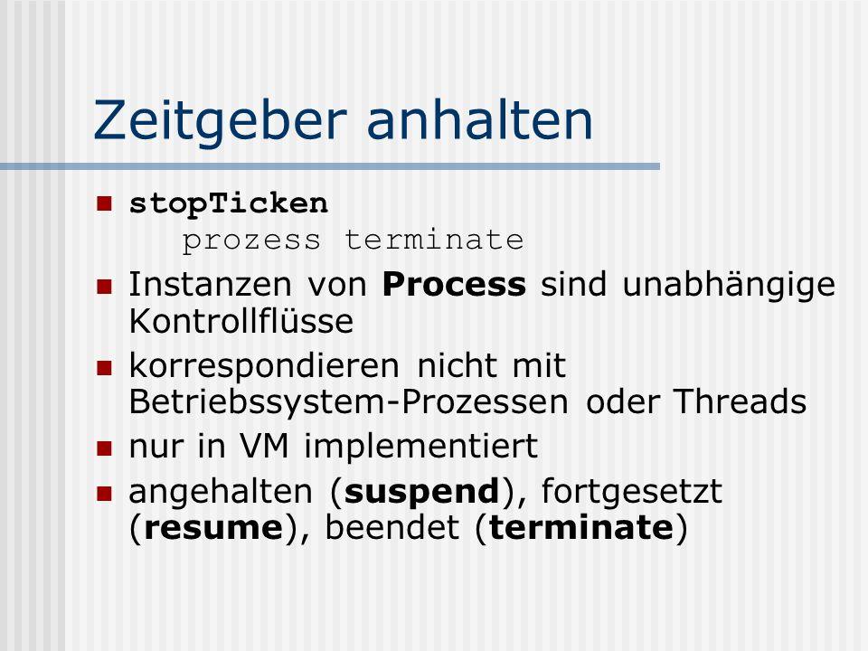 Zeitgeber anhalten stopTicken prozess terminate Instanzen von Process sind unabhängige Kontrollflüsse korrespondieren nicht mit Betriebssystem-Prozessen oder Threads nur in VM implementiert angehalten (suspend), fortgesetzt (resume), beendet (terminate)