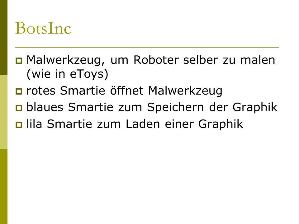 BotsInc  Malwerkzeug, um Roboter selber zu malen (wie in eToys)  rotes Smartie öffnet Malwerkzeug  blaues Smartie zum Speichern der Graphik  lila Smartie zum Laden einer Graphik