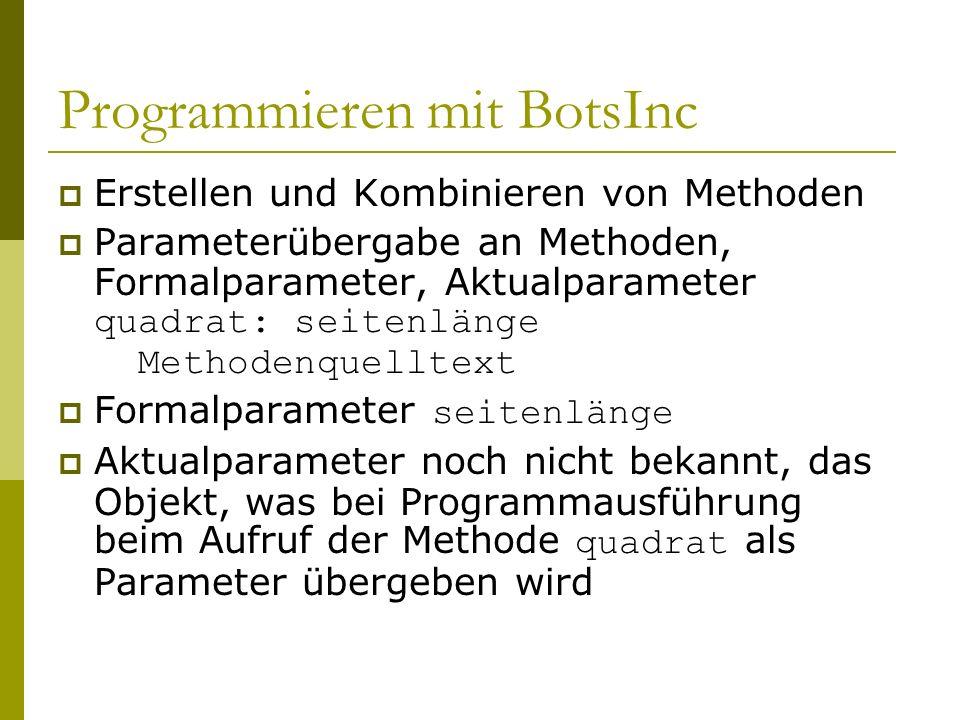 Programmieren mit BotsInc  Erstellen und Kombinieren von Methoden  Parameterübergabe an Methoden, Formalparameter, Aktualparameter quadrat: seitenlänge Methodenquelltext  Formalparameter seitenlänge  Aktualparameter noch nicht bekannt, das Objekt, was bei Programmausführung beim Aufruf der Methode quadrat als Parameter übergeben wird