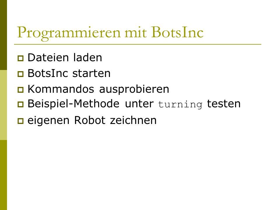 Programmieren mit BotsInc  Dateien laden  BotsInc starten  Kommandos ausprobieren  Beispiel-Methode unter turning testen  eigenen Robot zeichnen