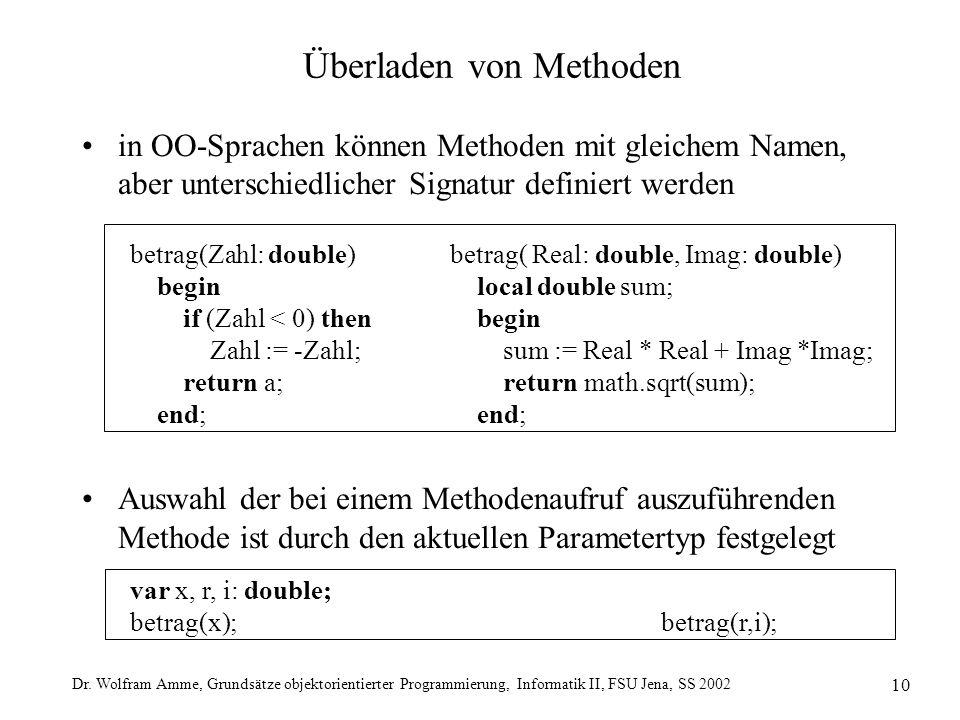 Dr. Wolfram Amme, Grundsätze objektorientierter Programmierung, Informatik II, FSU Jena, SS 2002 10 Überladen von Methoden in OO-Sprachen können Metho
