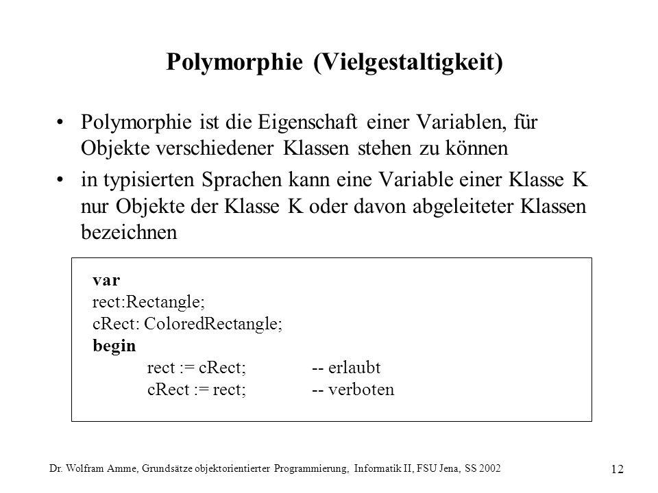 Dr. Wolfram Amme, Grundsätze objektorientierter Programmierung, Informatik II, FSU Jena, SS 2002 12 Polymorphie (Vielgestaltigkeit) Polymorphie ist di