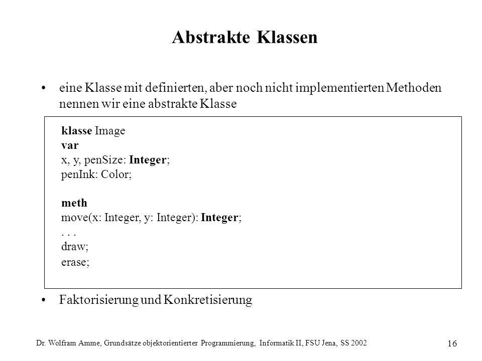 Dr. Wolfram Amme, Grundsätze objektorientierter Programmierung, Informatik II, FSU Jena, SS 2002 16 Abstrakte Klassen eine Klasse mit definierten, abe