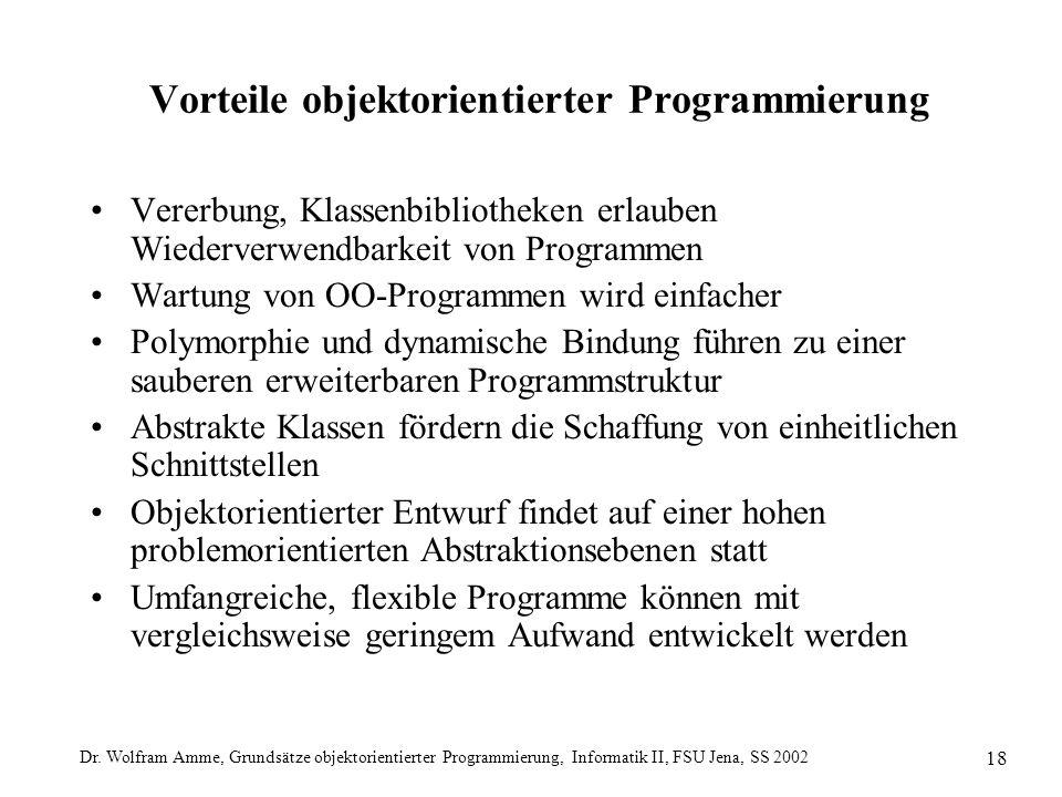 Dr. Wolfram Amme, Grundsätze objektorientierter Programmierung, Informatik II, FSU Jena, SS 2002 18 Vorteile objektorientierter Programmierung Vererbu