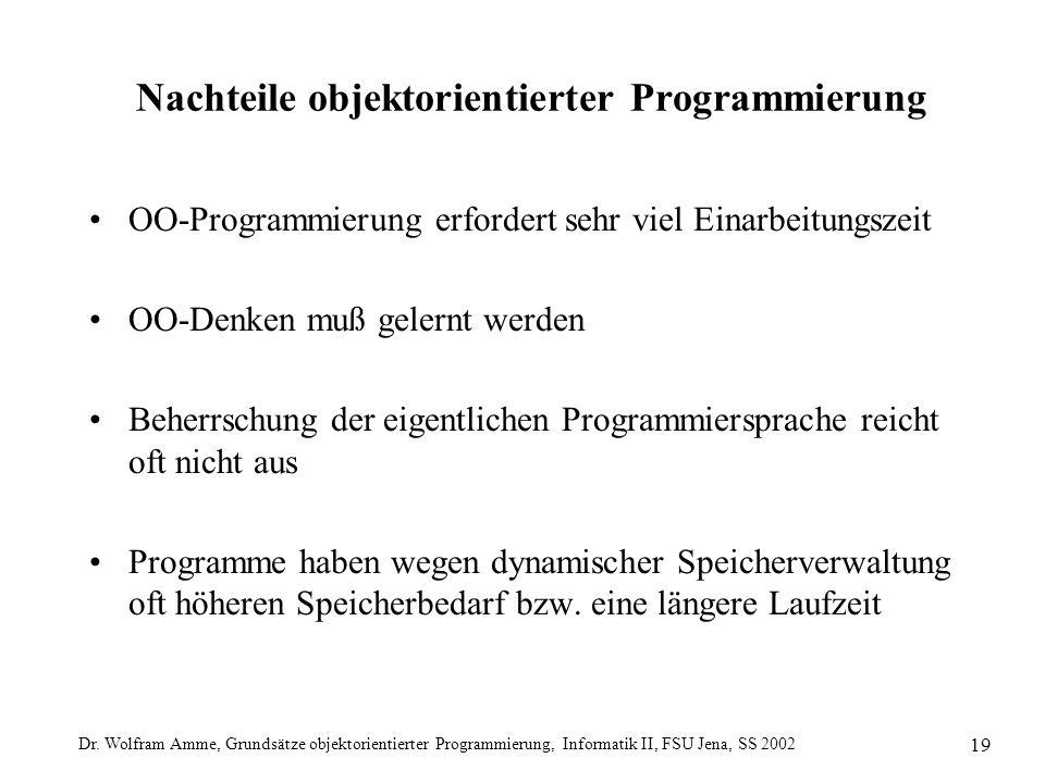 Dr. Wolfram Amme, Grundsätze objektorientierter Programmierung, Informatik II, FSU Jena, SS 2002 19 Nachteile objektorientierter Programmierung OO-Pro