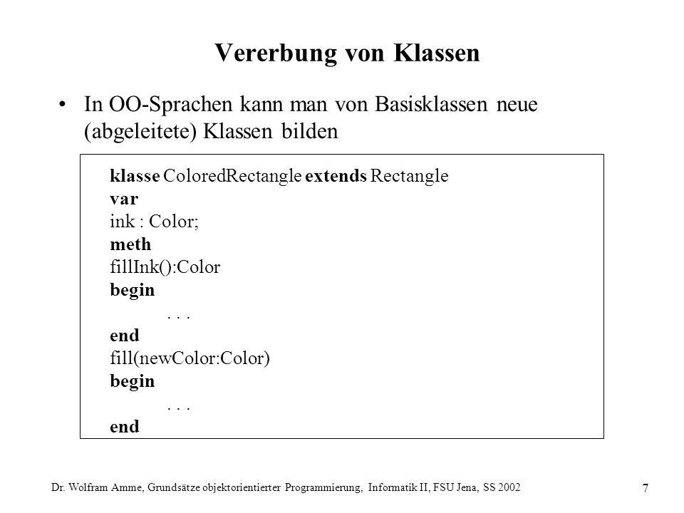 Dr. Wolfram Amme, Grundsätze objektorientierter Programmierung, Informatik II, FSU Jena, SS 2002 7 Vererbung von Klassen In OO-Sprachen kann man von B