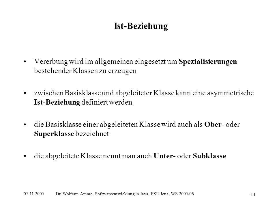 07.11.2005 Dr. Wolfram Amme, Softwareentwicklung in Java, FSU Jena, WS 2005/06 11 Ist-Beziehung Vererbung wird im allgemeinen eingesetzt um Spezialisi