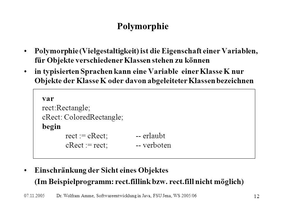 07.11.2005 Dr. Wolfram Amme, Softwareentwicklung in Java, FSU Jena, WS 2005/06 12 Polymorphie Polymorphie (Vielgestaltigkeit) ist die Eigenschaft eine