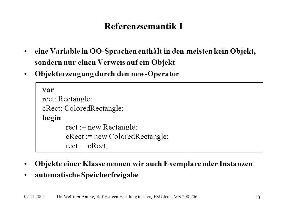 07.11.2005 Dr. Wolfram Amme, Softwareentwicklung in Java, FSU Jena, WS 2005/06 13 Referenzsemantik I eine Variable in OO-Sprachen enthält in den meist