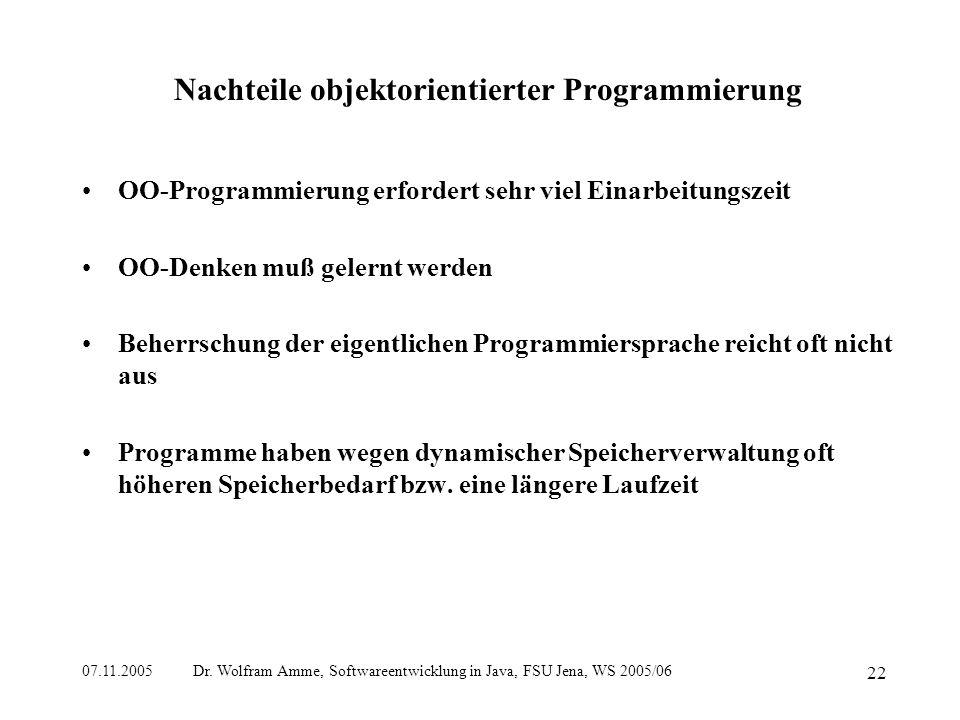 07.11.2005 Dr. Wolfram Amme, Softwareentwicklung in Java, FSU Jena, WS 2005/06 22 Nachteile objektorientierter Programmierung OO-Programmierung erford