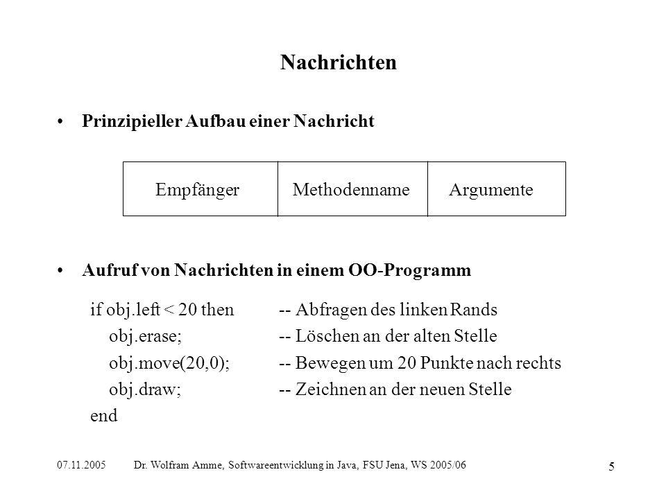 07.11.2005 Dr. Wolfram Amme, Softwareentwicklung in Java, FSU Jena, WS 2005/06 5 Nachrichten Prinzipieller Aufbau einer Nachricht Aufruf von Nachricht
