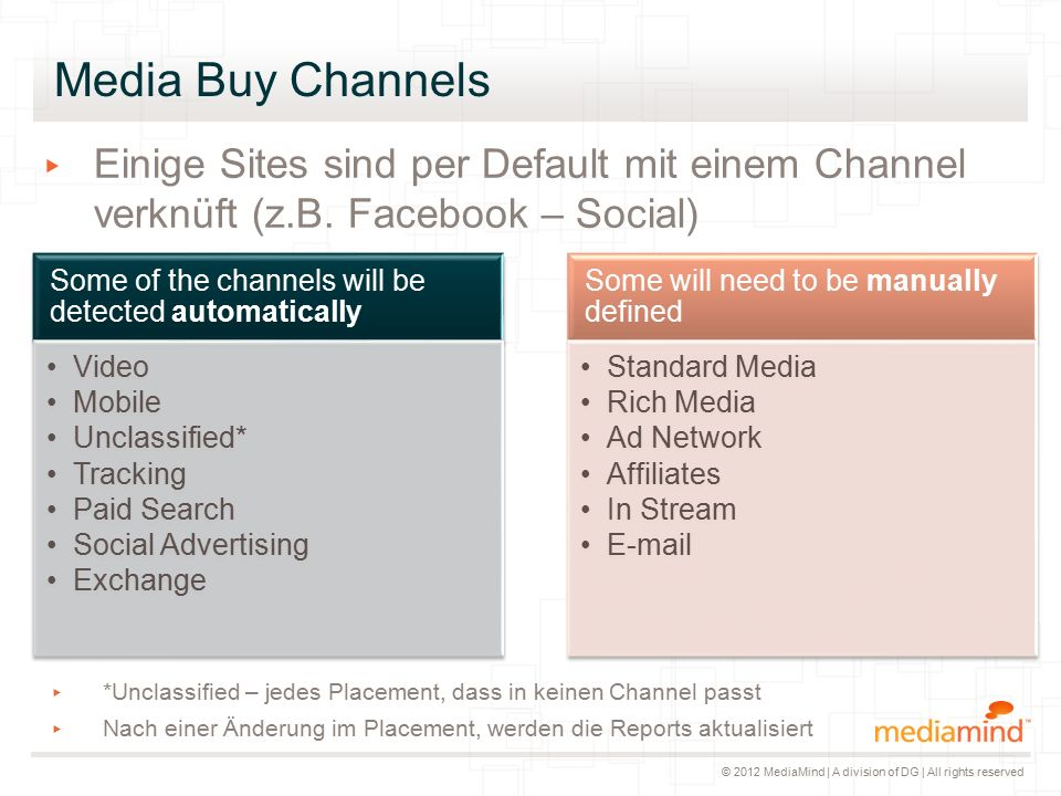 © 2012 MediaMind | A division of DG | All rights reserved Media Buy Channels ▸ *Unclassified – jedes Placement, dass in keinen Channel passt ▸ Nach einer Änderung im Placement, werden die Reports aktualisiert Some of the channels will be detected automatically Video Mobile Unclassified* Tracking Paid Search Social Advertising Exchange Some will need to be manually defined Standard Media Rich Media Ad Network Affiliates In Stream E-mail ▸ Einige Sites sind per Default mit einem Channel verknüft (z.B.