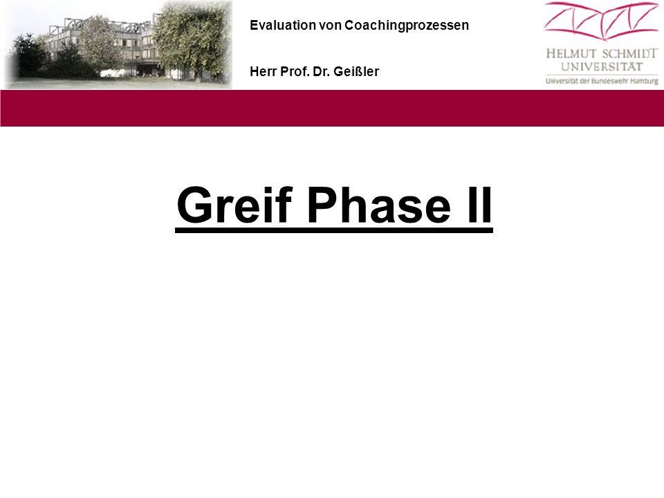 Evaluation von Coachingprozessen Herr Prof. Dr. Geißler Greif Phase II