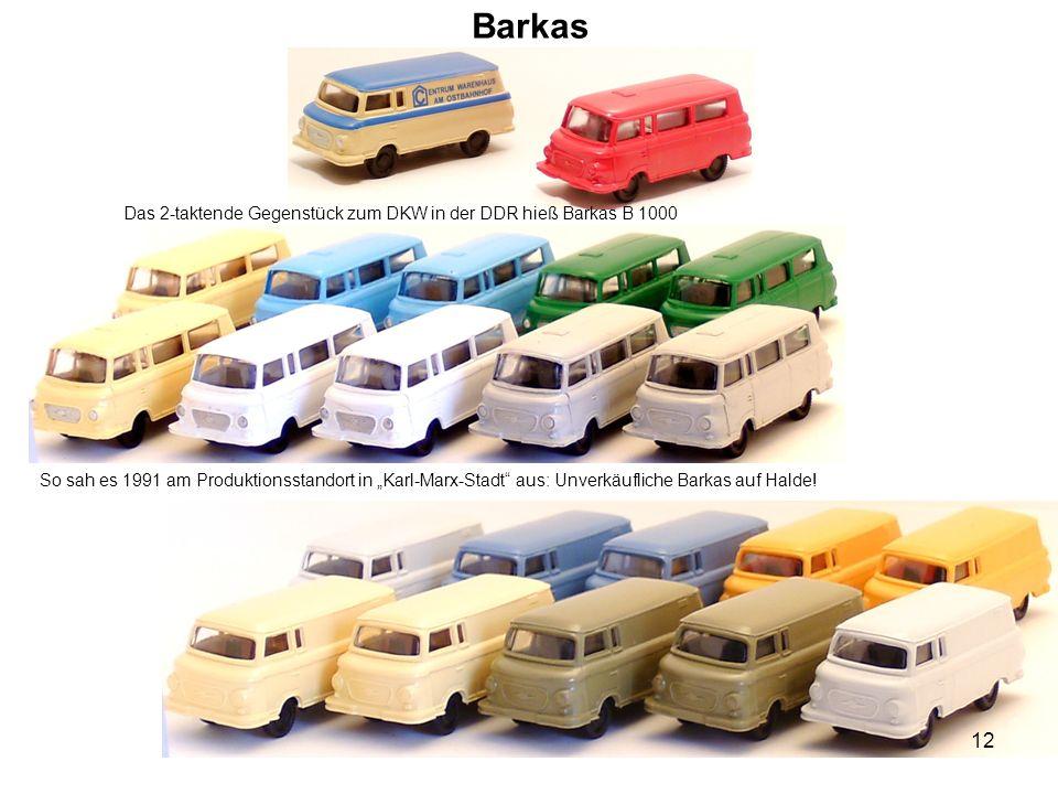 """Barkas Das 2-taktende Gegenstück zum DKW in der DDR hieß Barkas B 1000 So sah es 1991 am Produktionsstandort in """"Karl-Marx-Stadt"""" aus: Unverkäufliche"""