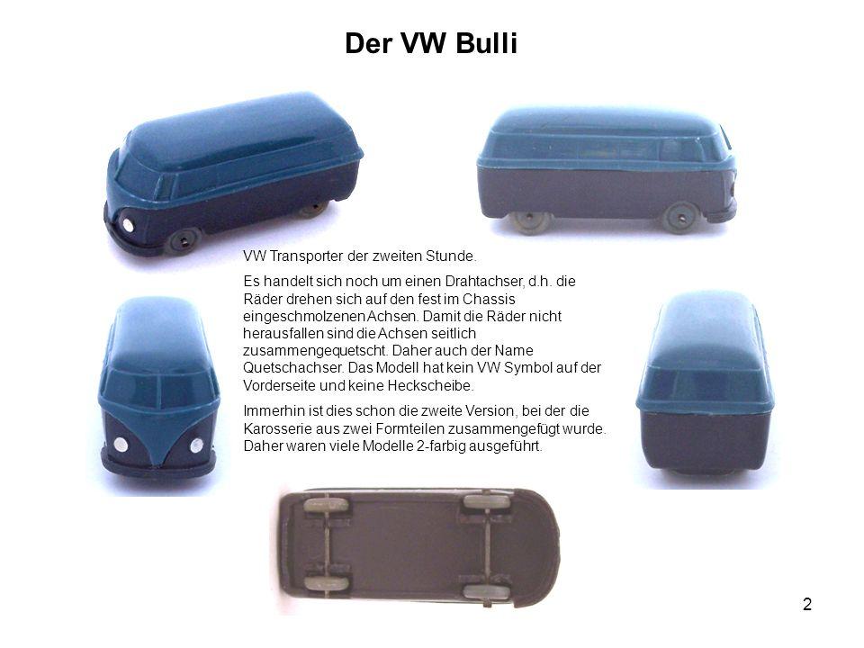 Der VW Bulli VW Transporter der zweiten Stunde. Es handelt sich noch um einen Drahtachser, d.h. die Räder drehen sich auf den fest im Chassis eingesch