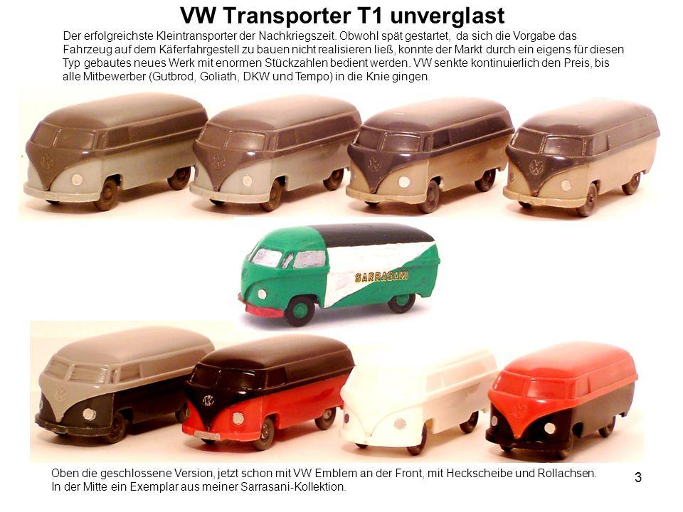 VW Transporter T1 unverglast Der erfolgreichste Kleintransporter der Nachkriegszeit. Obwohl spät gestartet, da sich die Vorgabe das Fahrzeug auf dem K
