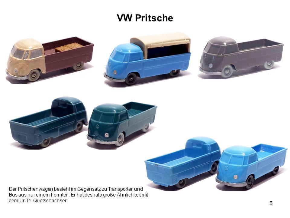VW Pritsche 5 Der Pritschenwagen besteht im Gegensatz zu Transporter und Bus aus nur einem Formteil. Er hat deshalb große Ähnlichkeit mit dem Ur-T1 Qu