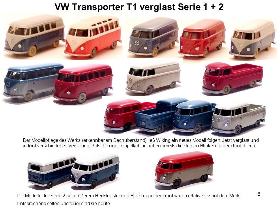 VW Transporter T1 verglast Serie 1 + 2 Der Modellpflege des Werks (erkennbar am Dachüberstand) ließ Wiking ein neues Modell folgen. Jetzt verglast und