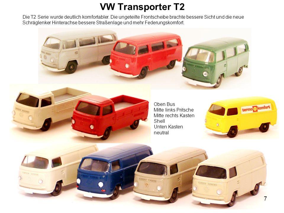 VW Transporter T2 Die T2 Serie wurde deutlich komfortabler. Die ungeteilte Frontscheibe brachte bessere Sicht und die neue Schräglenker Hinterachse be