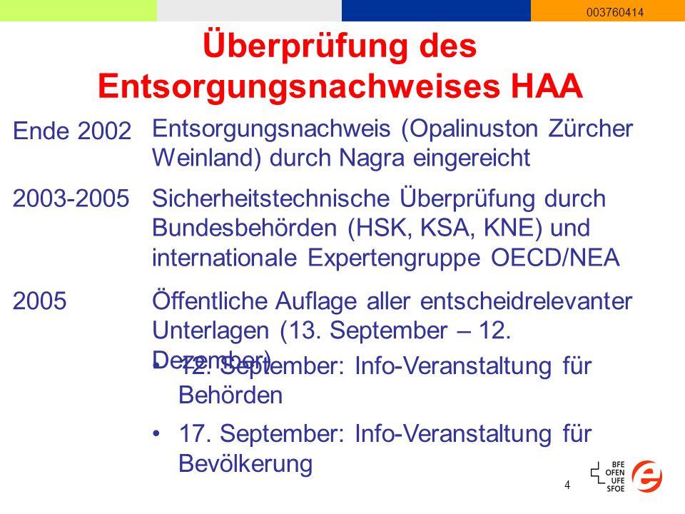4 003760414 Überprüfung des Entsorgungsnachweises HAA 2003-2005Sicherheitstechnische Überprüfung durch Bundesbehörden (HSK, KSA, KNE) und internationale Expertengruppe OECD/NEA 2005Öffentliche Auflage aller entscheidrelevanter Unterlagen (13.
