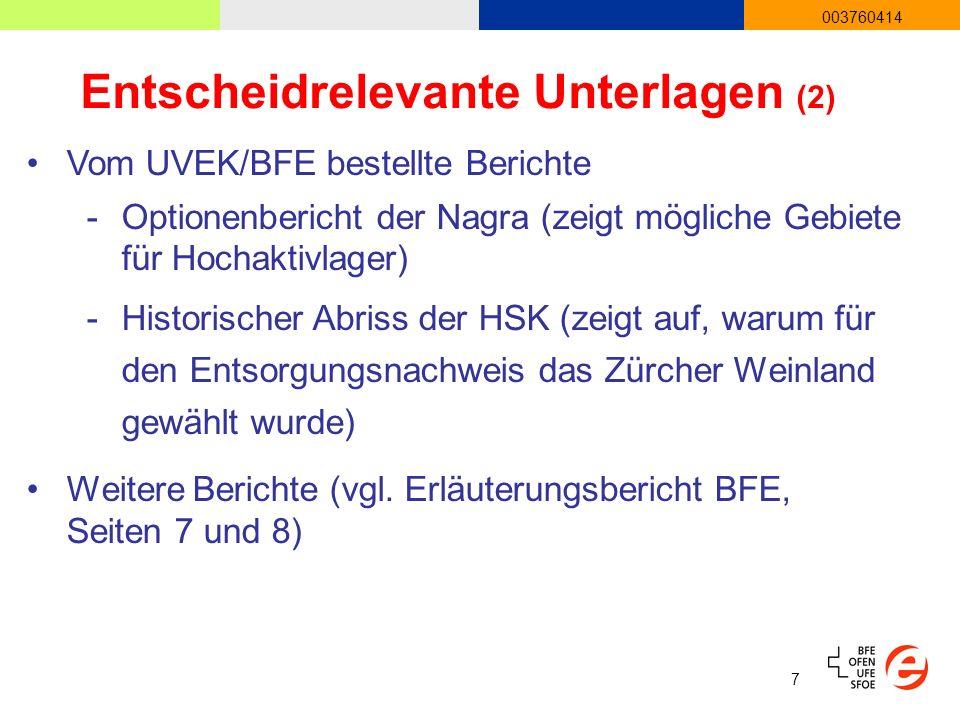 7 003760414 Entscheidrelevante Unterlagen (2) Vom UVEK/BFE bestellte Berichte -Optionenbericht der Nagra (zeigt mögliche Gebiete für Hochaktivlager) -Historischer Abriss der HSK (zeigt auf, warum für den Entsorgungsnachweis das Zürcher Weinland gewählt wurde) Weitere Berichte (vgl.